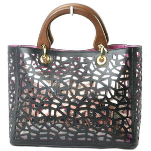 Geometric see-through handbag with pouch - black