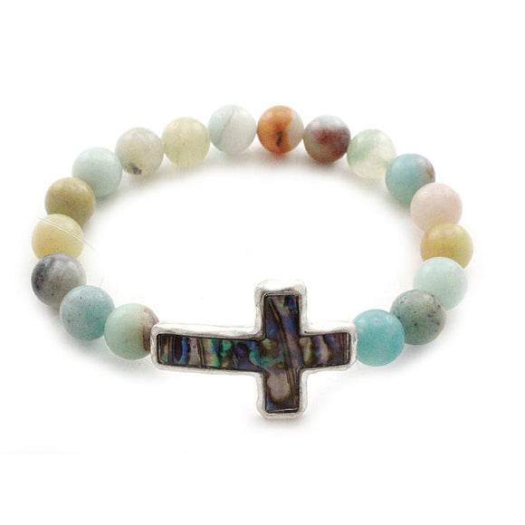 [2PCS] Cross natural stone bracelet