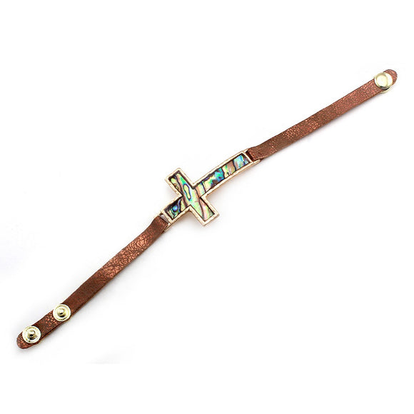 Cross w/ abalone shell leather bracelet