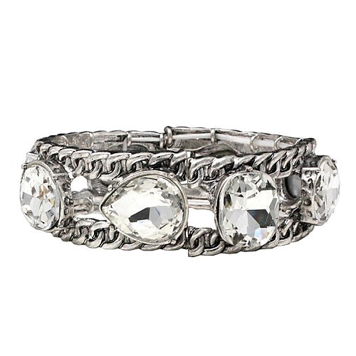Crystal cabochon bracelet - silver clear
