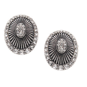 Bohemian pave earring - antique silver