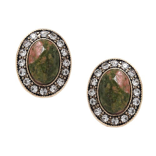 Oval stone w/ crystal studs earring - olive