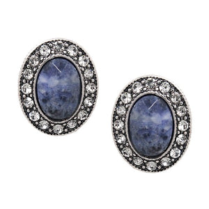 Oval stone w/ crystal studs earring - blue