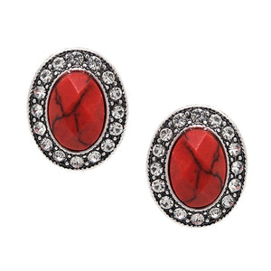 Oval stone w/ crystal studs earring - coral