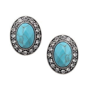 Oval stone w/ crystal studs earring - turquoise