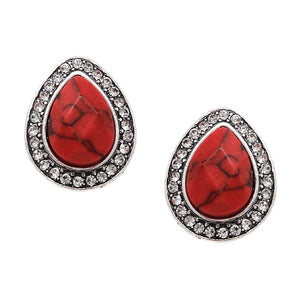 Tear drop w/ pave earring - coral