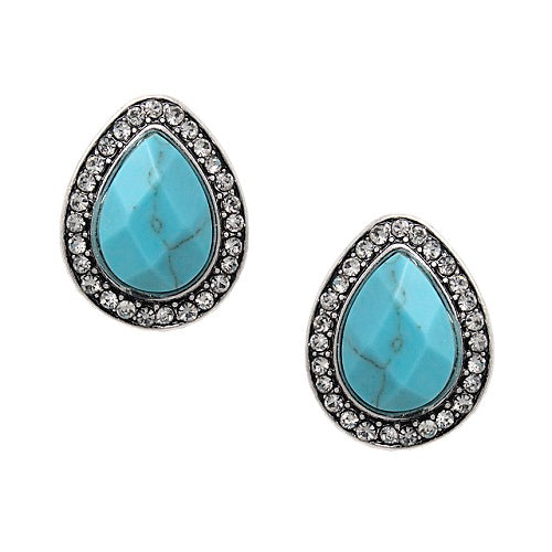 Tear drop w/ pave earring - turquoise
