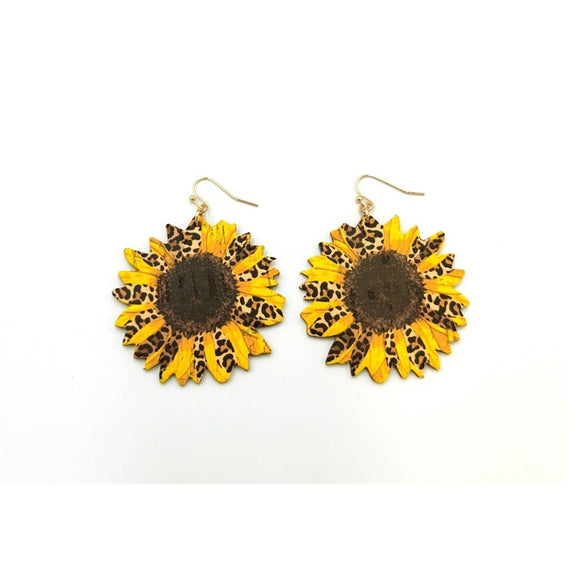 [2 PC] Sunflower w/ leopard earring