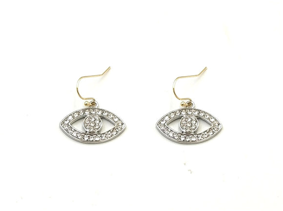[2 PC] Evil eye earring - gold clear
