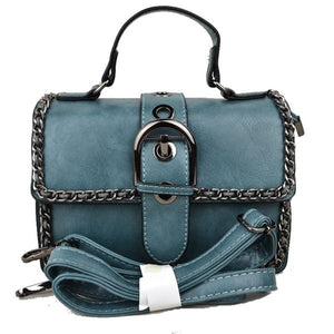Belted chain crossbody bag - blue
