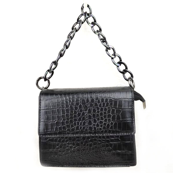 Crocodile embossed chain bag - black