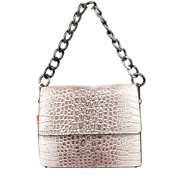 Crocodile embossed chain bag - white