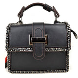 Chain deco crossbody bag - black
