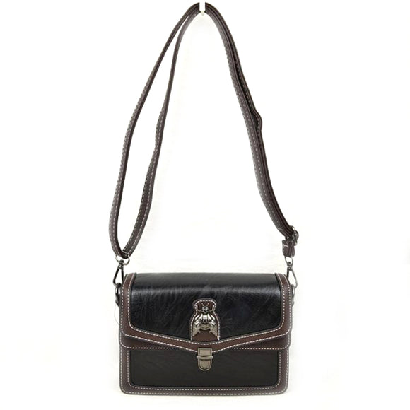 Metal Bee Decor Crossbody bag - black