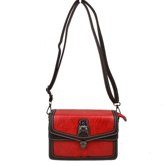 Metal Bee Decor Crossbody bag - red