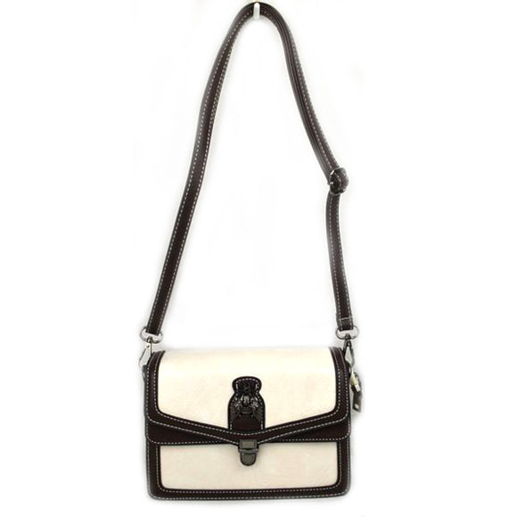 Metal Bee Decor Crossbody bag - white