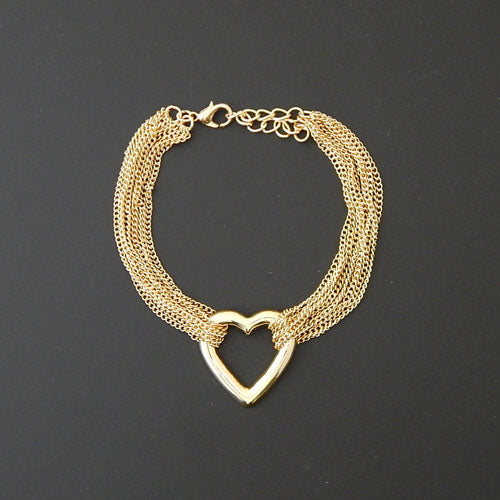 Heart multi chain bracelet - gold