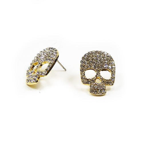 [4 pcs] Pave skull earring - gold