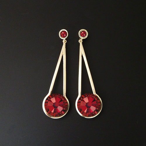Fashion rhinestone earring - red