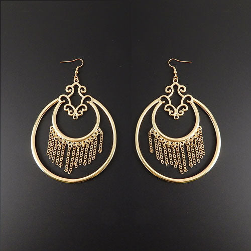 Chain tassel earring - gold
