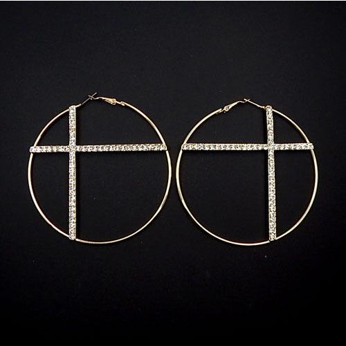 Cross round earring - gold