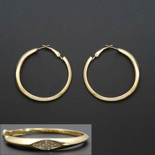 45mm ring earring - gold & clear