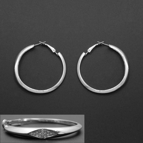 45mm ring earring - silver & clear