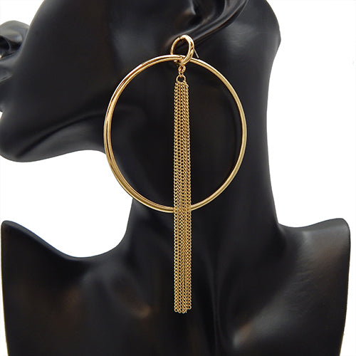 120mm round & tassel earring - gold