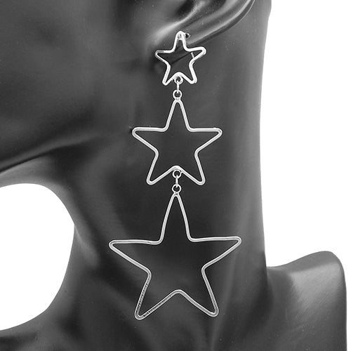 Triple star drop earring - silver