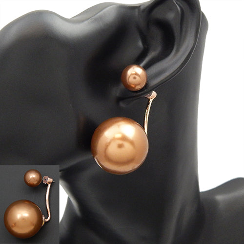 Double pearl earring - champagne