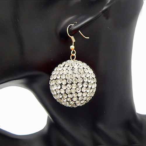 Stud ball earring - gold clear
