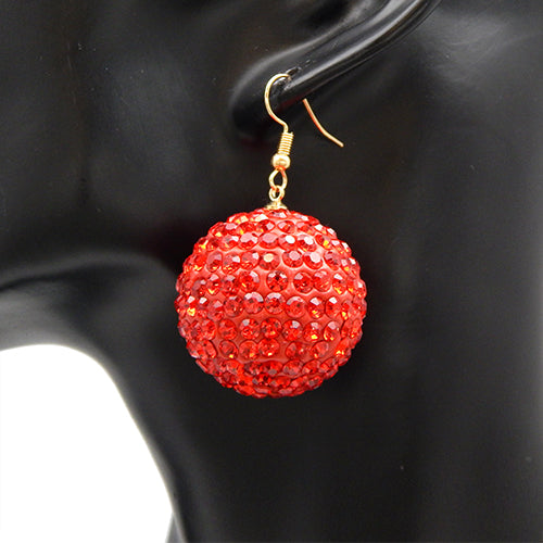 Stud ball earring - red