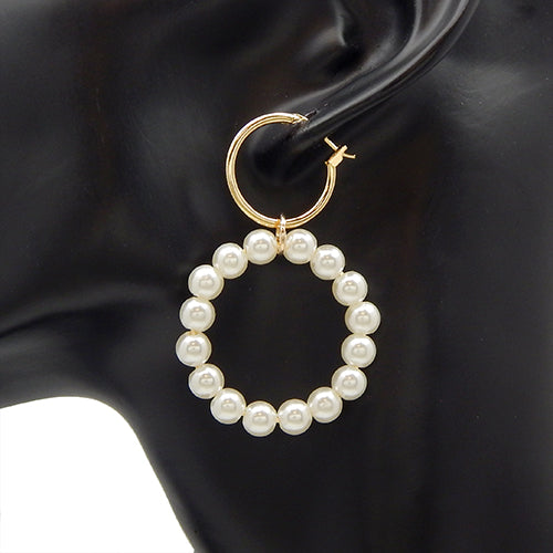 Round pearl earring - gold