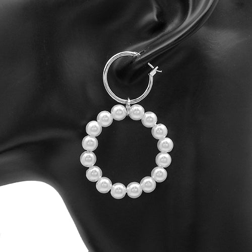 Round pearl earring - silver