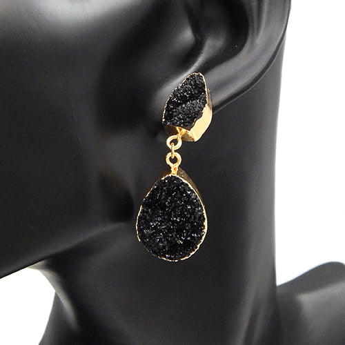 Oval shape druzy earring -  black