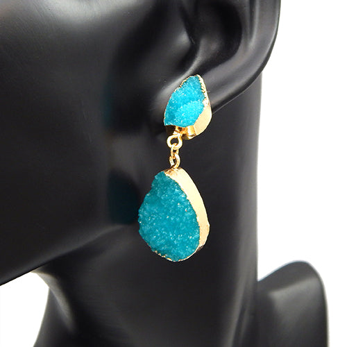 Oval shape druzy earring -  blue