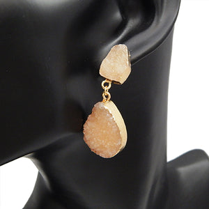 Oval shape druzy earring -  Ivy