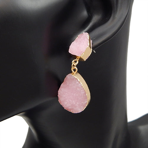 Oval shape druzy earring -  pink