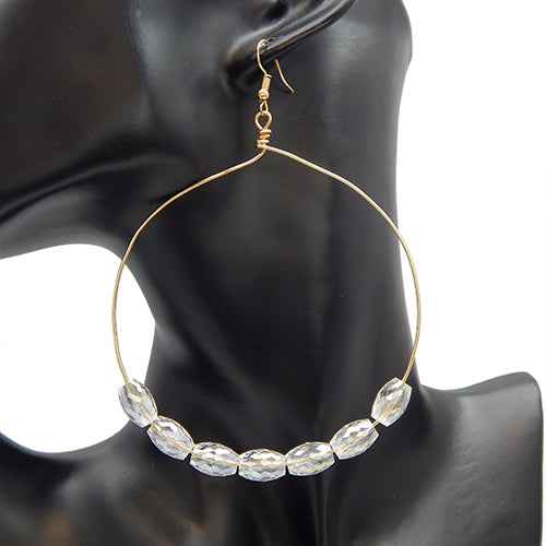 Pearl hook earring - gold clear