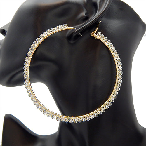 80mm round gold earring - clear