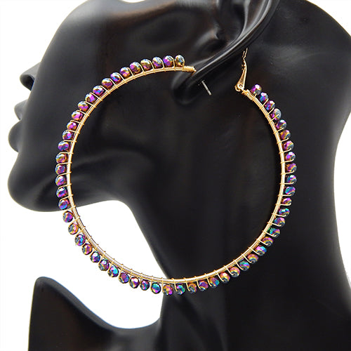 80mm multi color earring - gold