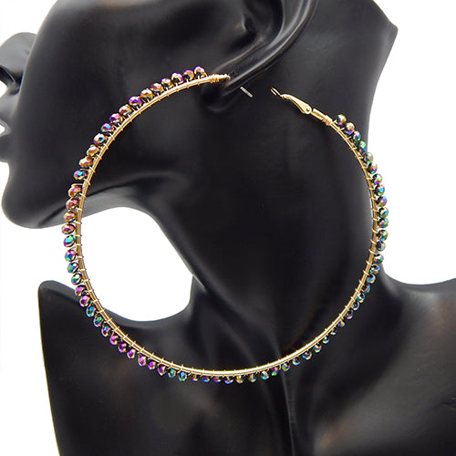 100mm multi color earring - gold