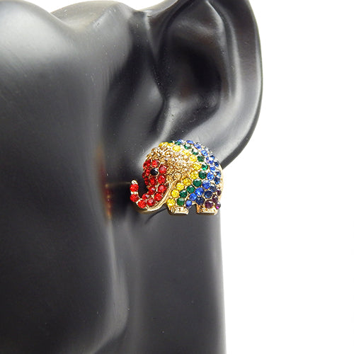 Elephant pave earring - rainbow