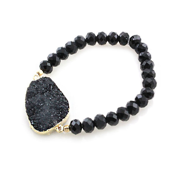 [2 PC] Nugget Druzy bracelet - black