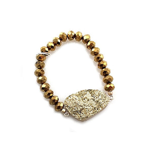 [2 PC] Nugget Druzy bracelet - gold