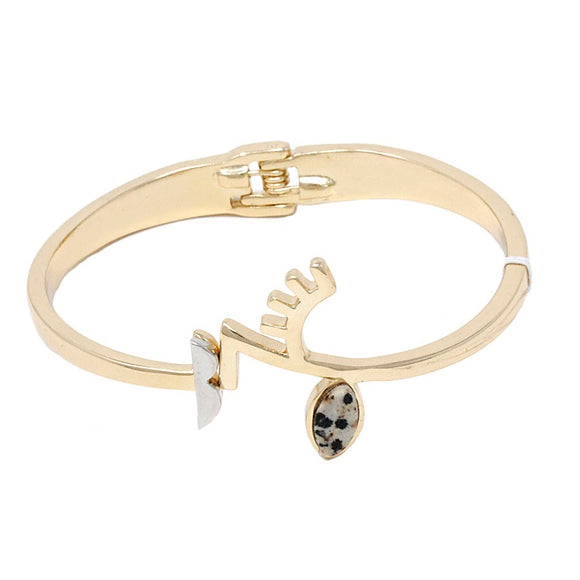 [2 PC] Evil eye cuff bracelet - gold