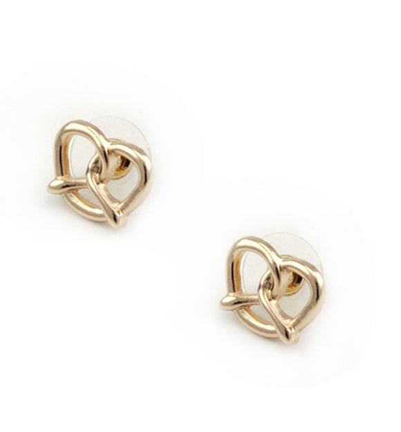 [2 PC] Heart Pretzel earring - gold