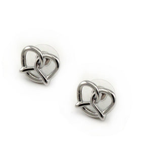 [2 PC] Heart Pretzel earring - silver