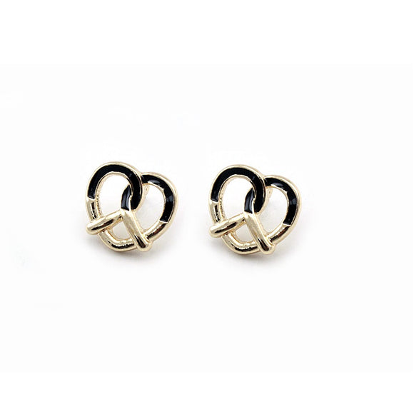 [2 PC] Heart Pretzel earring - black