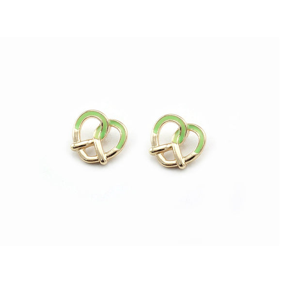 [2 PC] Heart Pretzel earring - green